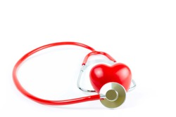 Red Stethoscope  and shape Heart Isolated On White Background.Blood pressure control