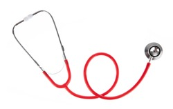 Red stethoscope isolated on white background