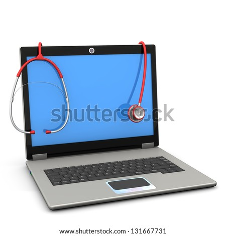 Red stethoscope with laptop on the white background.