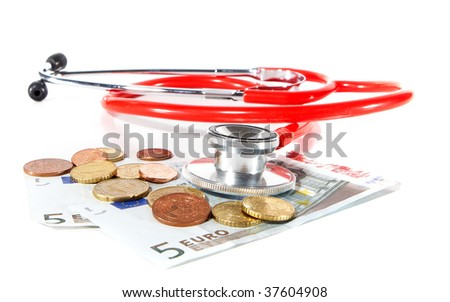 Red Stethoscope with money - symbolizing expensive healthcare systems. Highkey image!