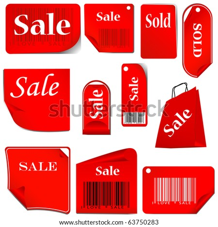 red stickers and tags set with bar codes. set 03.