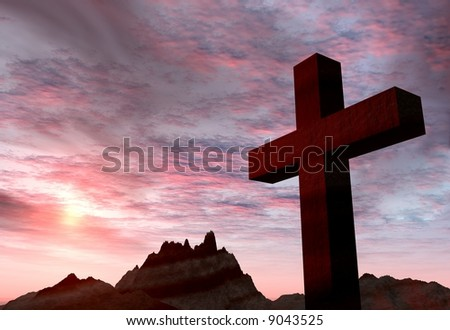 Red stone cross on a background of extremely storm sky and mountains