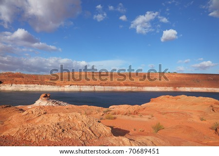 Red stone desert and the bright blue water. Lake Powell in a beautiful sunny day