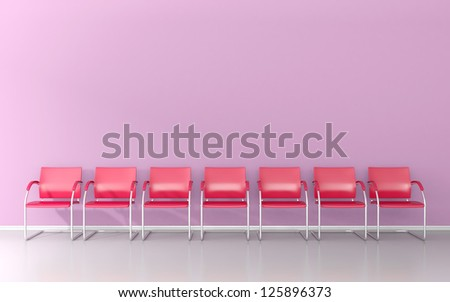 Red stools in the pink waiting room