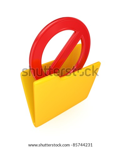 Red STOP sign in a yellow folder.Isolated on white background. 3d rendered.