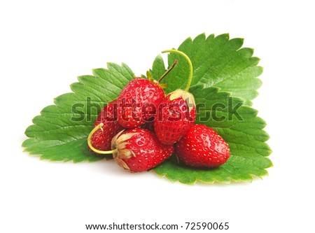 red straberries with green leaves - stock photo