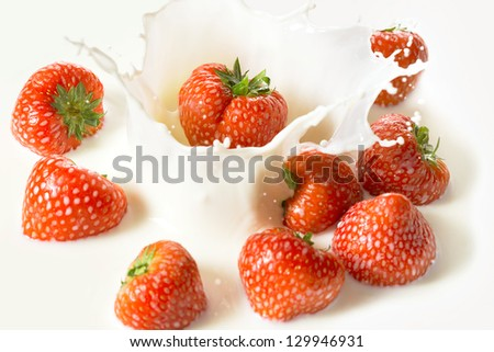Red strawberry fruits falling into the milky splash