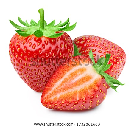 Red strawberry half isolated on white background. Strawberry clipping path. Strawberry fruits
