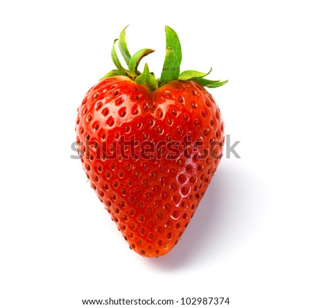 red strawberry, isolated on a white background.