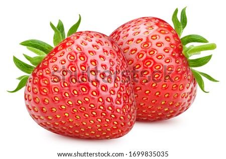 Red strawberry isolated on white background. Ripe fresh strawberry clipping path. Strawberry with leaf