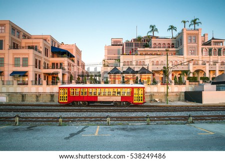 Red Streetcar Line in New Orleans Louisiana, USA