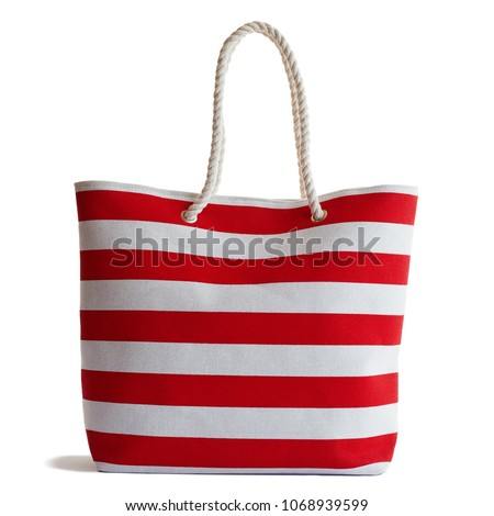 Red Stripe Beach Bag  isolated on white background