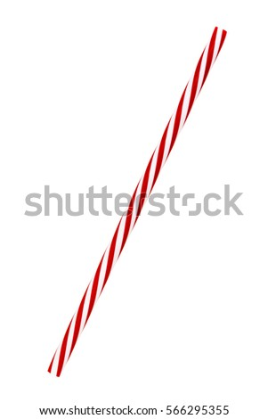 Red striped drinking straw isolated on white.  Includes clipping path. #566295355