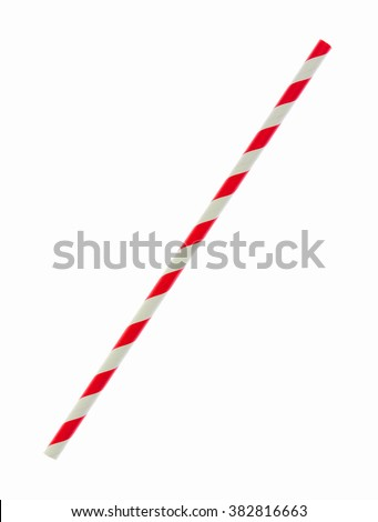 Red striped paper straw isolated on white background (Clipping Paths Included) #382816663