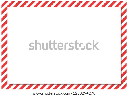 Red stripes on the perimeter of the sheet. Modern form for cards, greetings, banner. Red, white, gray color. #1258294270