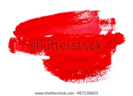 Red strokes of the paint brush isolated on a white #487138603