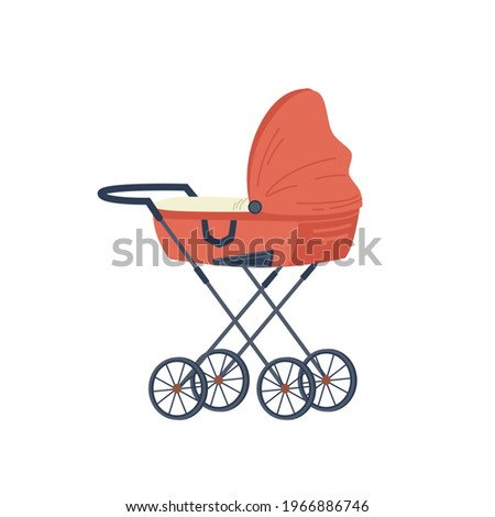 Red stroller for newborn baby isolated flat cartoon icon. pram with handle and wheels, childhood and babyhood concept. Kids transportation trolley, fatherhood and motherhood, stylish transport Foto stock ©