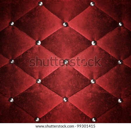 red stylish fabric with knobs