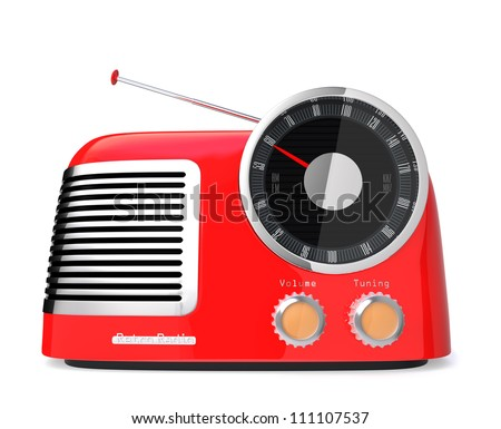 red stylish retro radio