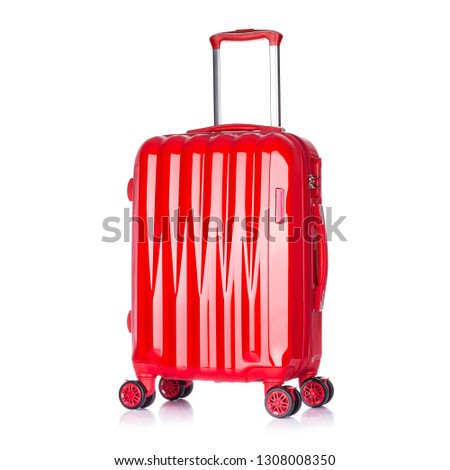 Red Suitcase Isolated on White Background. Side View of Trolley Luggage Bag. Vip Trolley Bag. Trolley Travel Bag. Spinner Trunk. Wheeled Luggage