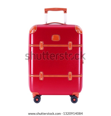 Red Suitcase Isolated on White Background. Trolley Luggage Bag. Vip Trolley Bag. Trolley Travel Bag. Spinner Trunk. Wheeled Luggage. Front View of Trolley Bag