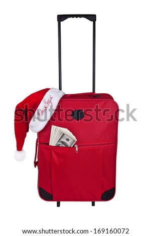"Red suitcase tourist dollars and Santa hat with the inscription in Russian ""happy New year!"" on a white background."