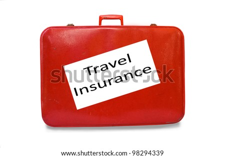 Red suitcase Travel Insurance concept isolated over a white background