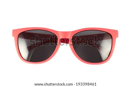 Red sun glasses isolated over the white background - stock photo