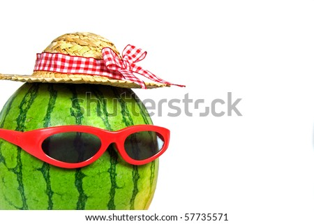 red sunglasses and hat on a watermelon