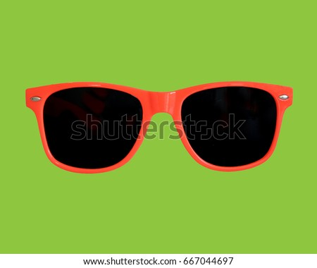 Red Sunglasses Green Background       #667044697