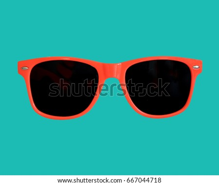 Red Sunglasses Green Background #667044718