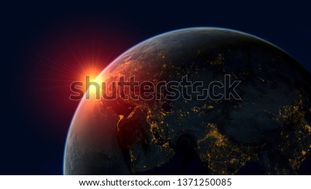 red sunrise over planet earth, realistic 3d illustration #1371250085