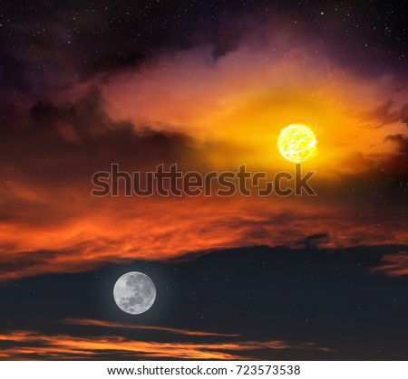 Red sunset and moon . Beautiful sunset with moon . Dramatic nature background . Moon sky and clouds . Full moon background  . Light in dark sky .  landscape .  eclipse of the sun #723573538