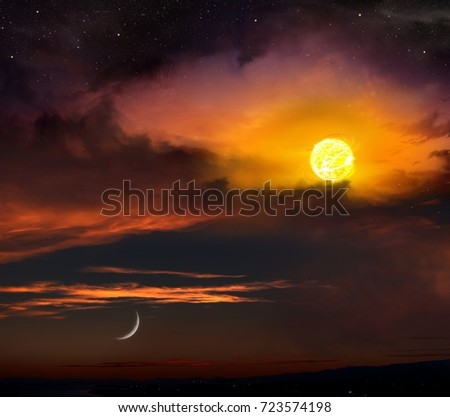 Red sunset and moon . Beautiful sunset with moon . Dramatic nature background . Moon sky and clouds .Full moon background  . Light in dark sky .  landscape .  Ramadan Kareem . #723574198