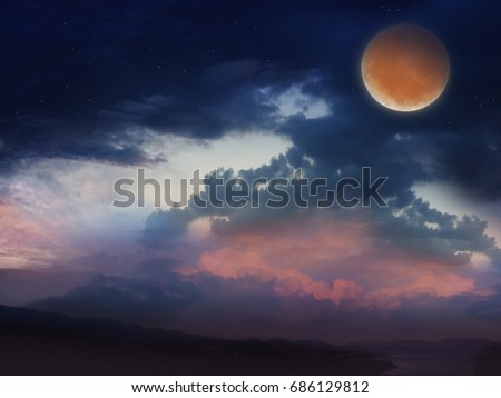 Red sunset and moon . Light in dark sky . beautiful cloud . Ramadan background .  Prayer time .  Dramatic nature background . Arab night. Prayer time .  Paradise heaven       #686129812