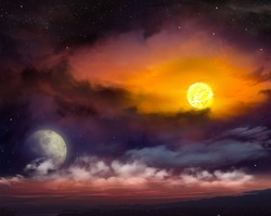 Red sunset . Dramatic nature background . Moon sky and clouds   . Light in dark sky . Moon sun and stars . Beautiful sunset with moon . Full moon  . Light in dark sky .  landscape . eclipse of the sun
