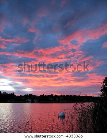 Red sunset in the archipelago in Northern Europe