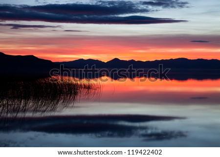 Red Sunset on Utah Lake