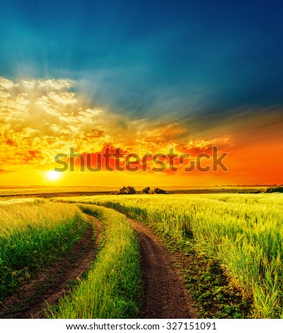 red sunset over green field with road #327151091