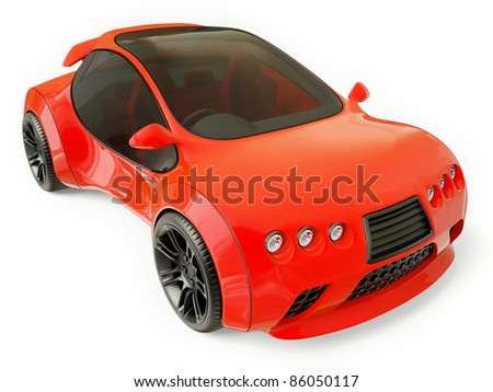 red supercar isolated on a white background