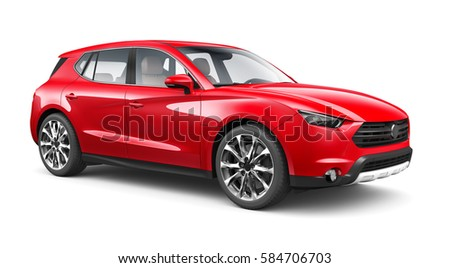 Red SUV Car - 3D render on white