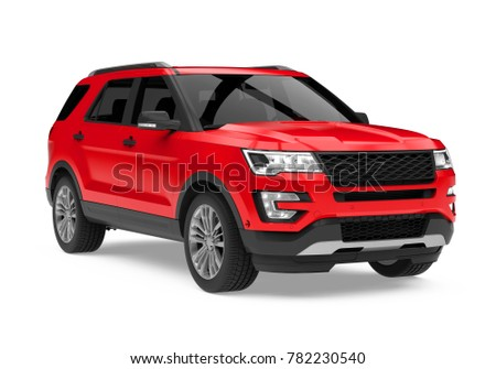 Red SUV Car Isolated. 3D rendering