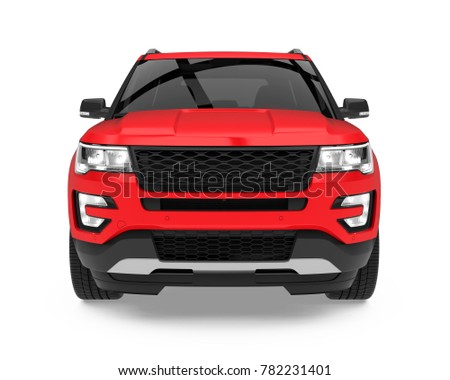 Red SUV Car Isolated (front view). 3D rendering