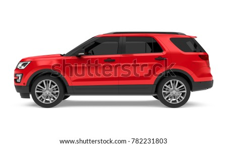 Red SUV Car Isolated (side view). 3D rendering