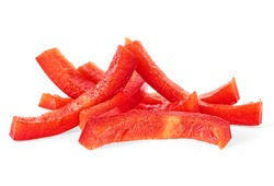 Red sweet bell pepper slices isolated on white background