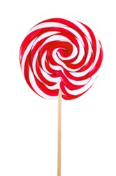 red sweet lollipop isolated on white background