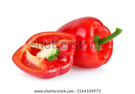 red sweet pepper isolated on white background.