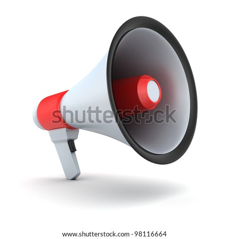 Red symbol megaphone (isolated, done in 3d)