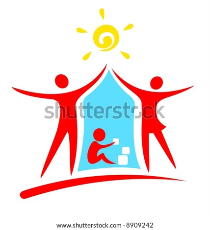 Red symbols of parents and playing child on a white background.
