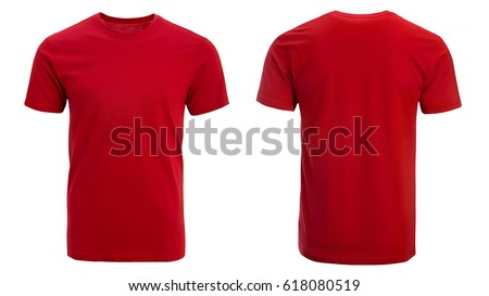 Red t-shirt, clothes on isolated white background.